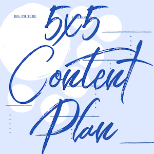 5x5 Content Plan